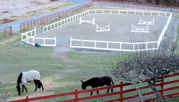 200 x 90 foot all weather arena with excellent footing. Automatic watering system and dragged daily.